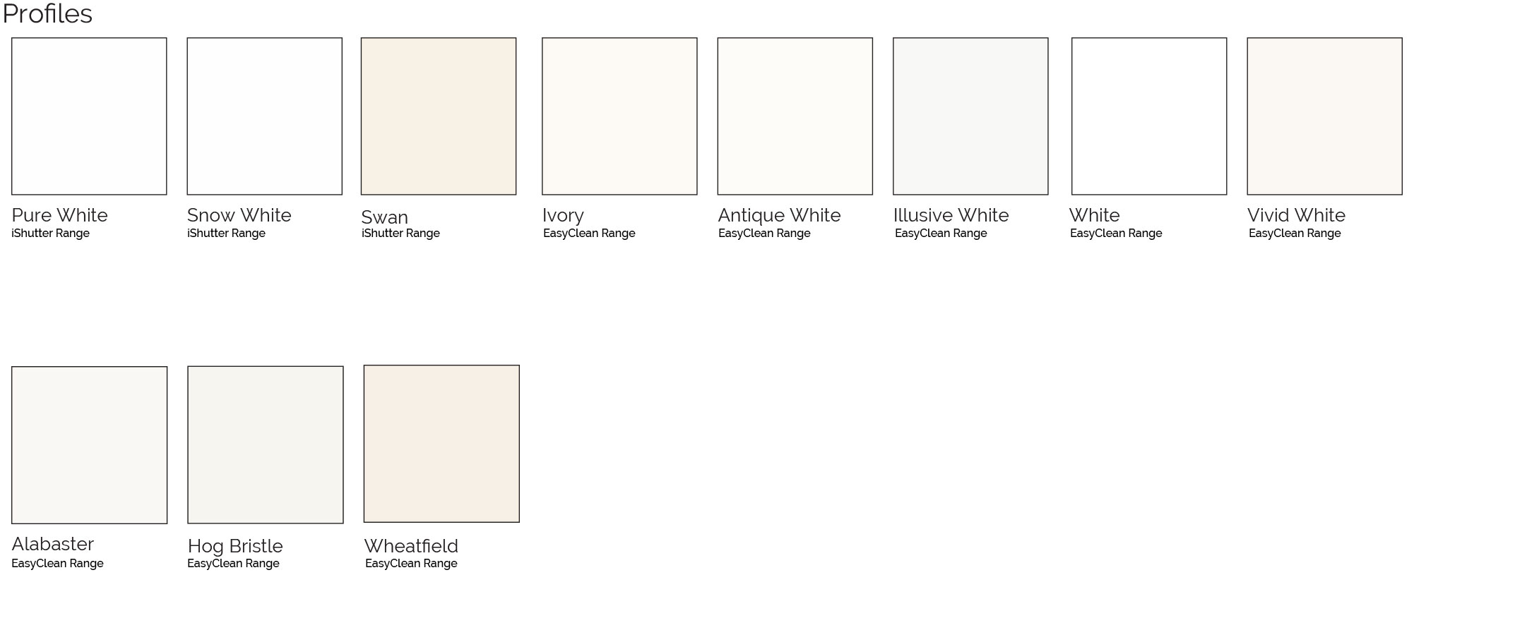 PVC Shutter colour range